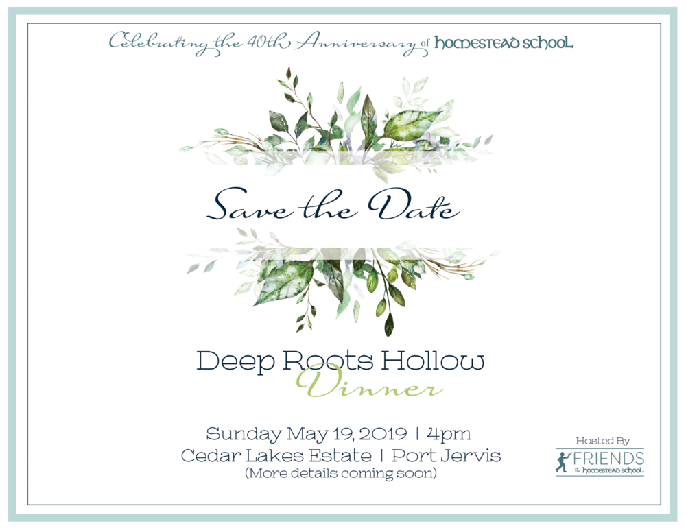 Friends of Homestead School | Glen Spey, NY   Save The Date card for an anniversary dinner event honoring Homestead School.