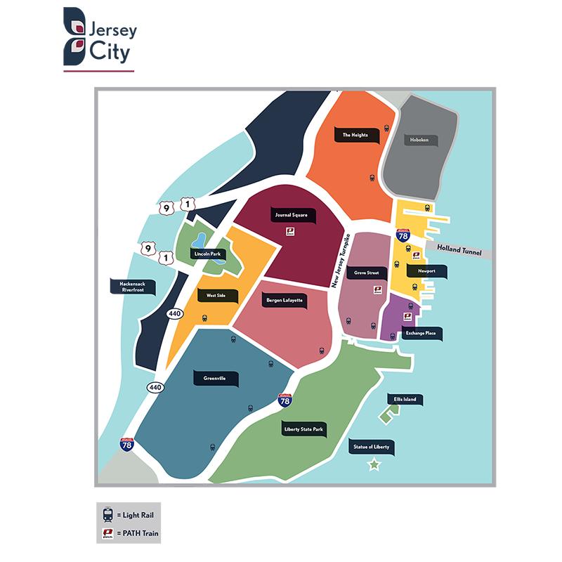 Real Estate Agent | Jersey City, NJ   Stylized Jersey City map