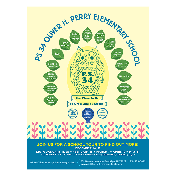 2016: PS 34 Elementary School | Brooklyn, NY   Tour poster