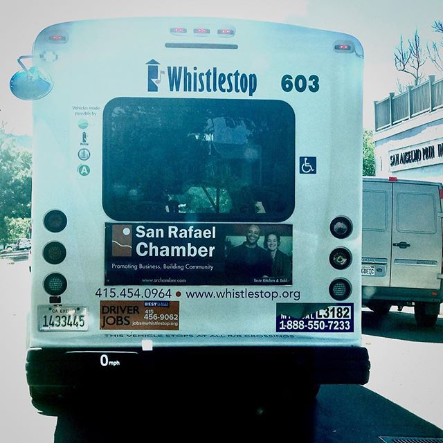 Ok, a little weird for me today driving behind this bus and seeing our photo! How cool. #marin #sanrafael #sanrafaelchamber #whistlestop #community #tastekitchenandtable #cafe