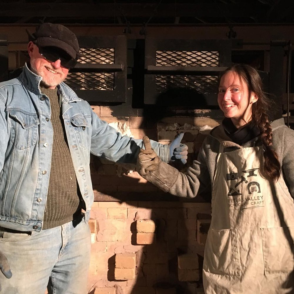 Tony Moore and me. Kiln all closed up!