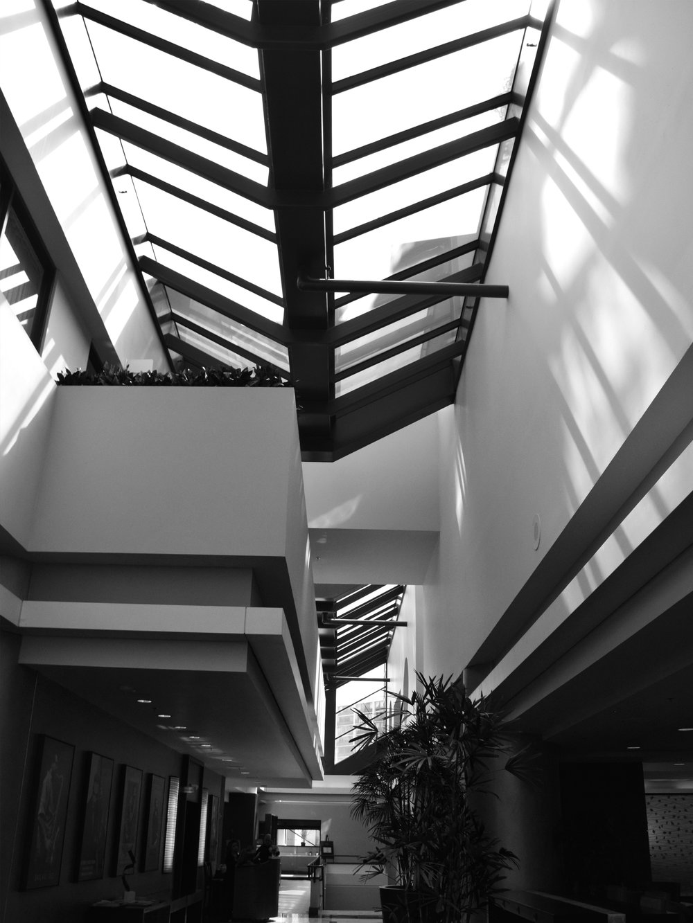 Skylight on mezzanine level. Marriott City Center (Oakland, CA)