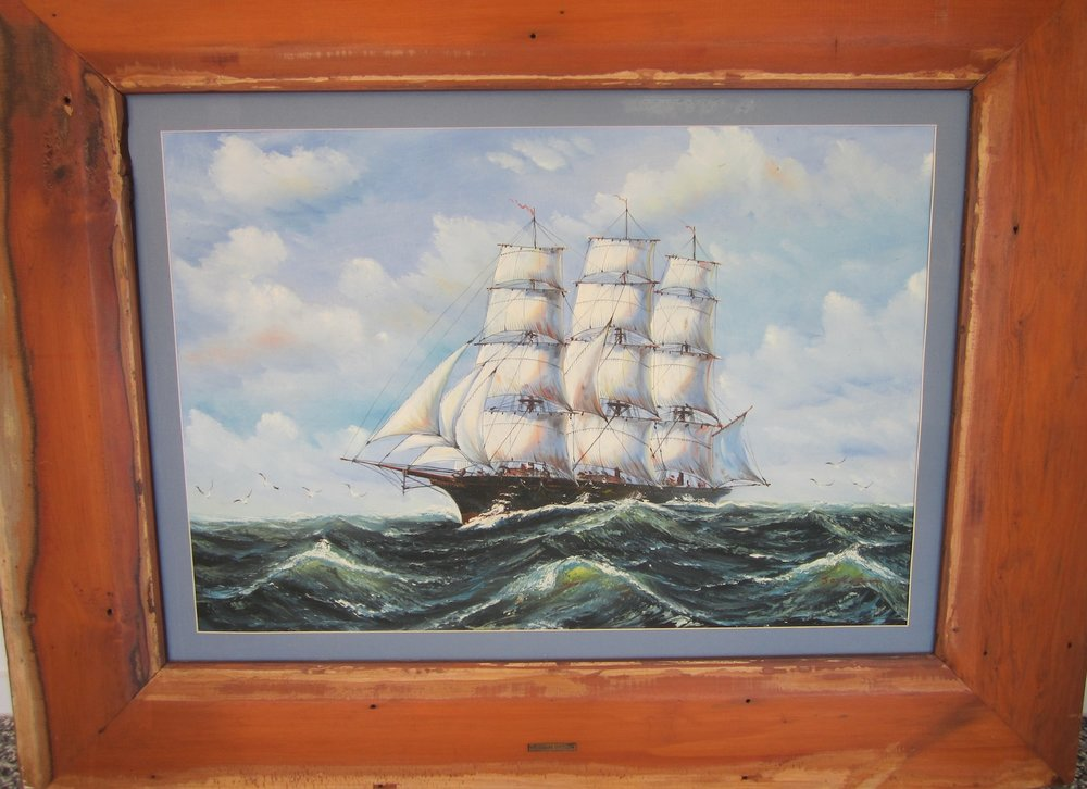 GG6550 Clipper ship, oil on board, signed lower right, in a pine frame 150 x 135cm, image 90 x 80cm