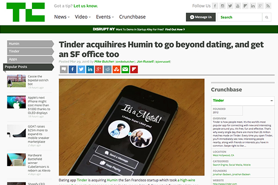 Media gallery swordfish investments tinder acquihires humin to go beyond dating and get an sf office too malvernweather Images