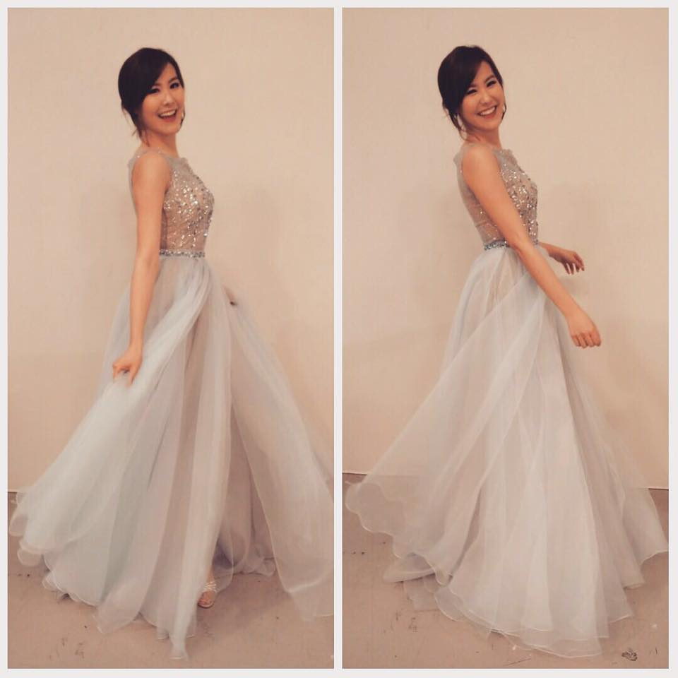 Moon in our two pieces silver-blue evening dress at TVB show event
