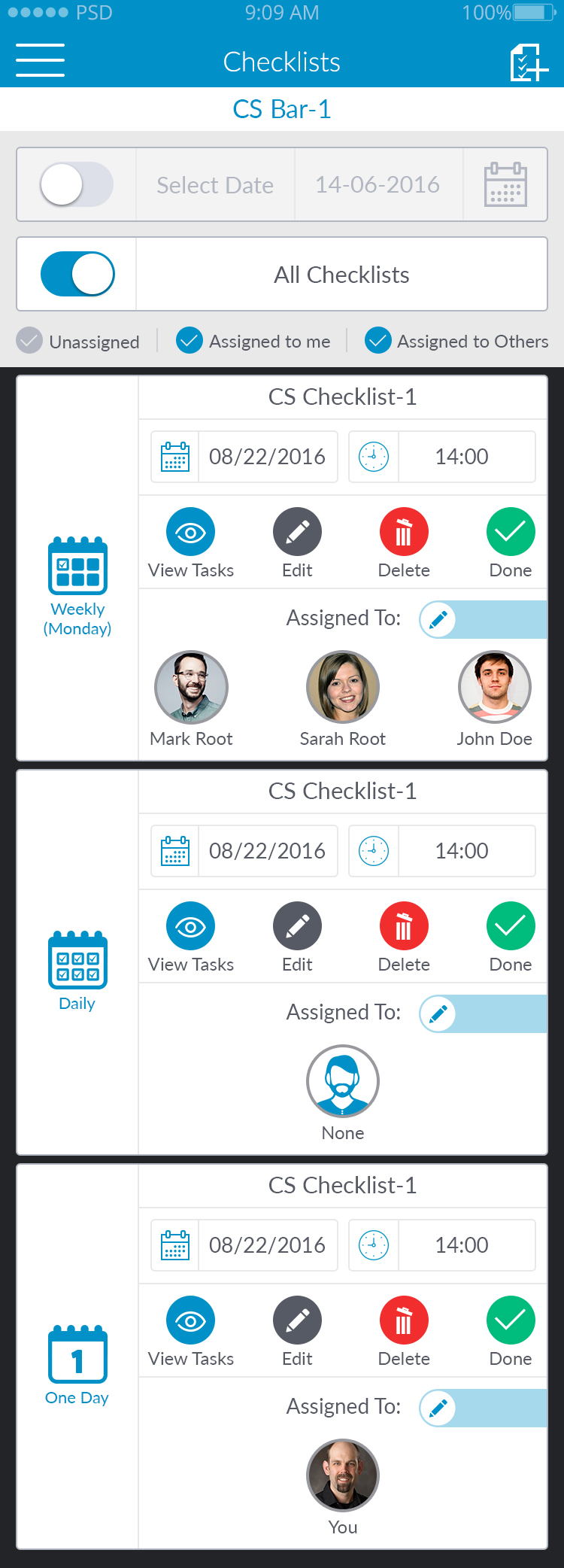 Staff checklists
