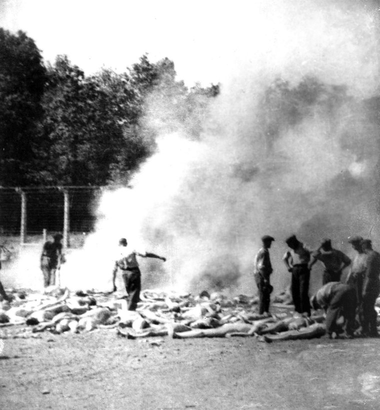 A photo taken by a Sonderkommando (the name given to camp inmates who were force to assist the SS with their various tasks) of the corpses of gassed victims being burned in an open-pit at Auschwitz-Birkenau.