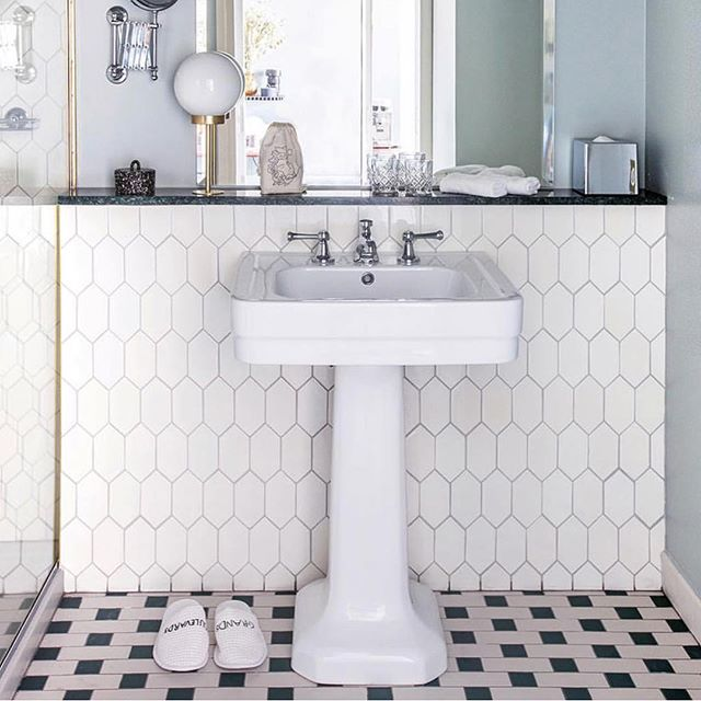 Paris is always a good idea... Maybe @hoteldesgrandsboulevards with beautiful bathrooms #neoclassicabasin #hexfloortiles