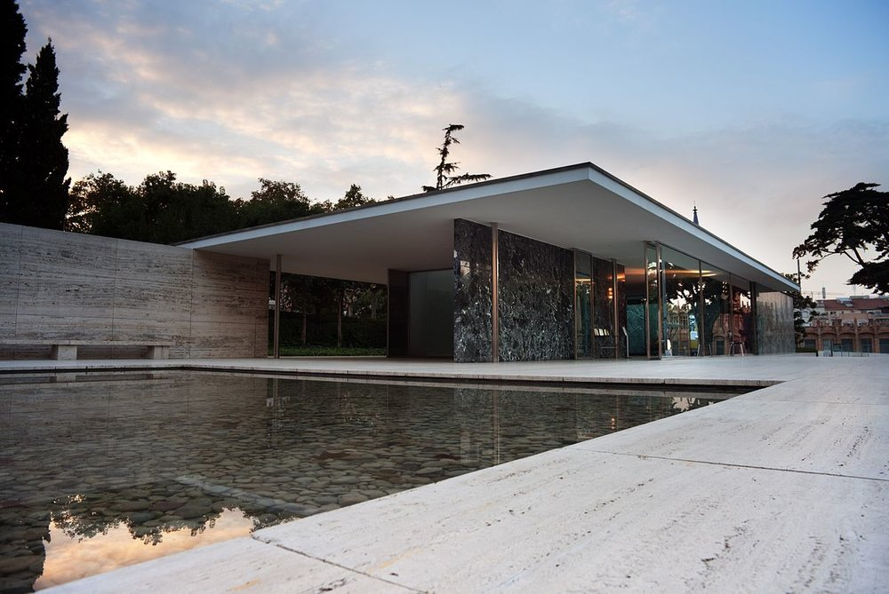 The Barcelona Pavillion, designed by Mies to accommodate the German section for the opening of the 1929 International Exposition. Image source: Wikipedia