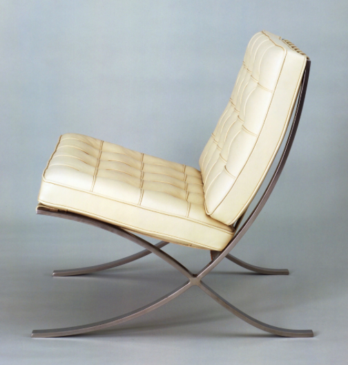 This chair, designed for the Barcelona Pavillion, represented modernity and high quality. 'Ironically, the Barcelona chair was the result of painstaking hand-craft techniques using traditional materials'… (McDermott, 115)