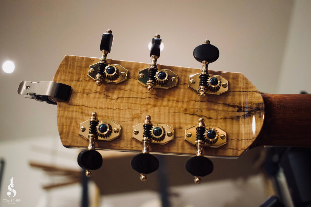 The back of the headstock upon completion, fitted with Robson tuners.