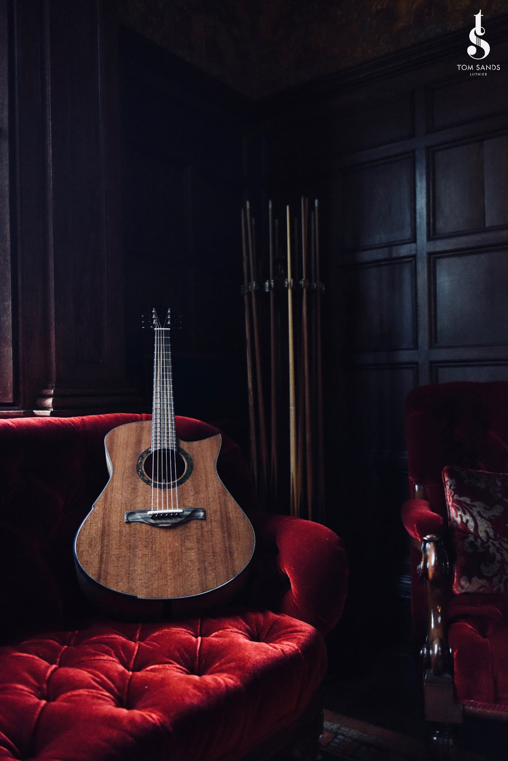 The guitar in the Billiard Room at the Broughton Hall Estate.
