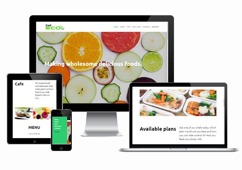 Cafe Eco Darwin mobile responsive website designed and developed by Webb & Flow
