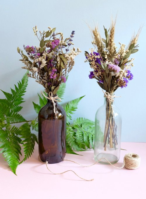 Dried bouquet in vintage bottle — askafrenchflowers