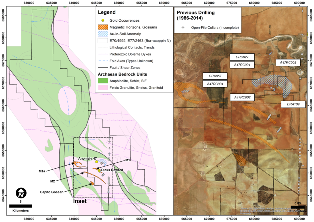 E77/2463 (Burracoppin North Project) showing interpreted geology and previous drilling. Also shown are previously interpreted (and targeted) magnetic horizons and gossans. The geology is based on geophysical interpretation and modelling as explained in the Independent Technical Assessment Report within Cygnus' Prospectus dated 22 November 2017