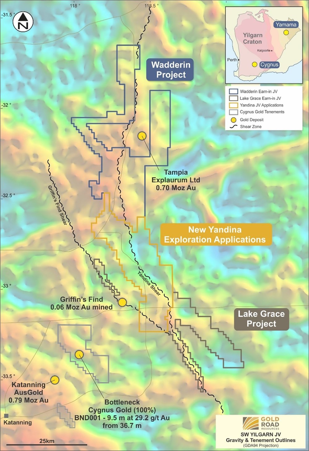 Location and outline of Cygnus - Gold Road exploration projects