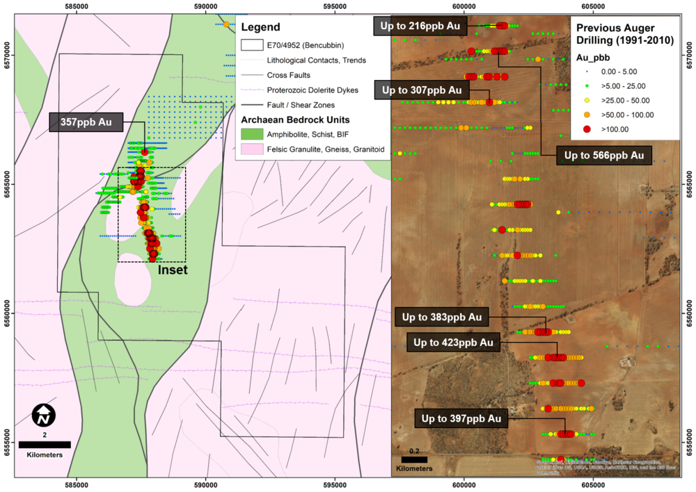 Bencubbin Project interpreted geology and historical auger samples². The geology is based on geophysical interpretation and modelling as explained in the Company's Independent Technical Assessment Report within Cygnus' Prospectus dated 22 November 2017.