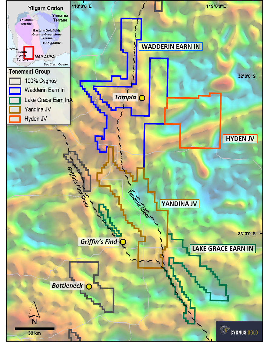 Cygnus Gold – Gold Road Projects earn-in and JV Projects over regional gravity image (residual Bouguer).