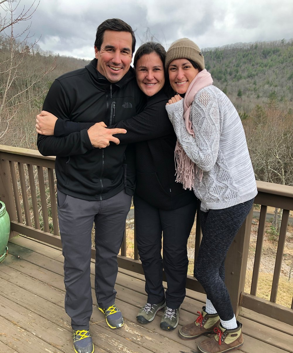 (From left) David Cuthbert, Lisa Merritt and Emily Hendrickson bundle up in the cool Tennessee mountains!