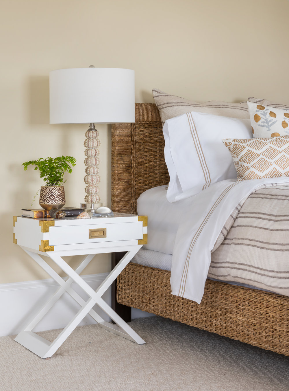 Newport, Rhode Island, interior design, bedroom design, wicker bed, campaign nightstand