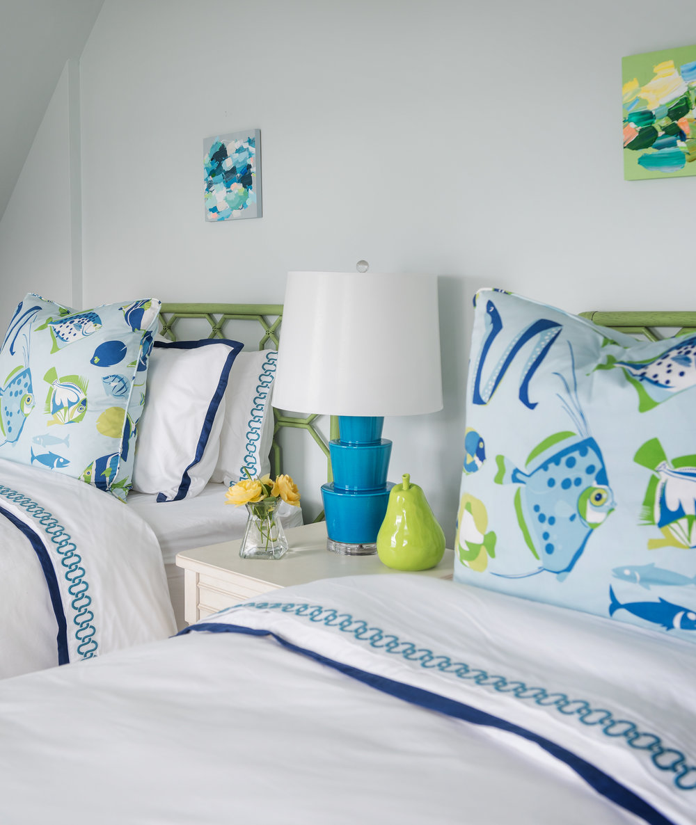 Rhode Island, Newport, beach decor, bedroom, fish pillow, interior design,