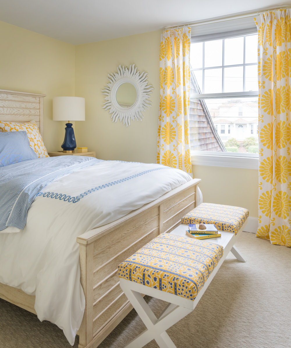 interior design, Rhode Island, Newport, yellow and blue, bedroom decor, beach style
