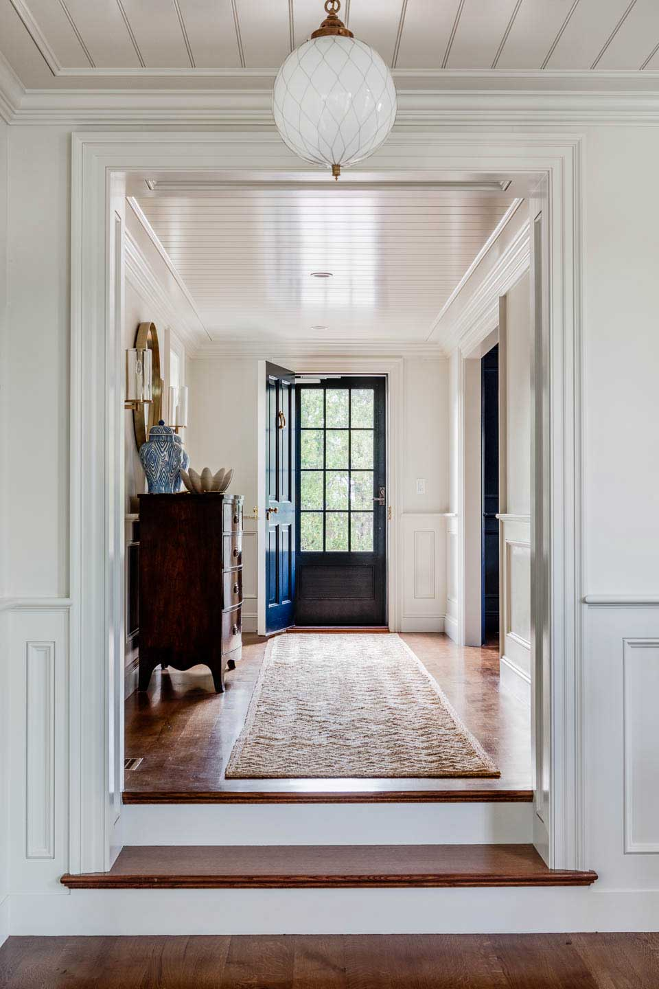 Cape Cod House, Chatham, Massachusetts, Entryway, Entryway design, blue front door, interior design