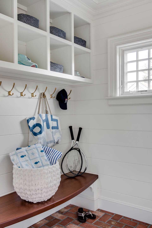 mudroom, mudroom seating, woven basket, sail cloth bag, mudroom storage, storage ideas