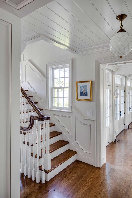 hallway, hallway lighting, stairs, shiplap ceiling