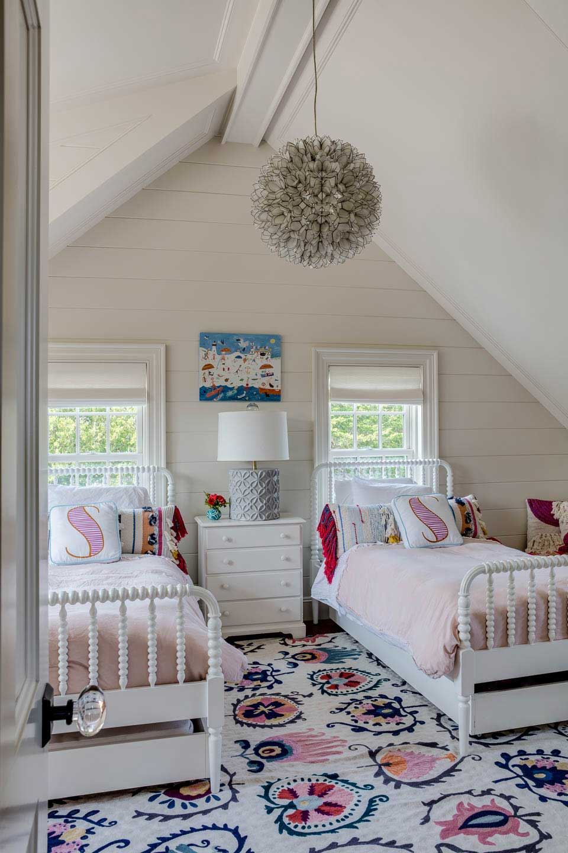 girls bedroom, pink bedding, shiplap, white beds, beds under windows, twin beds, interior design, bedroom design, digs, digs design
