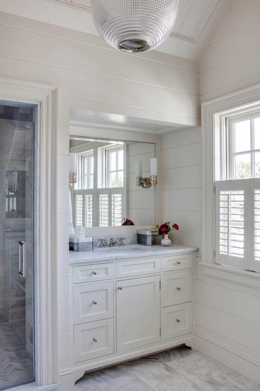 bathroom, white, marble, vanity, shiplap, lighting
