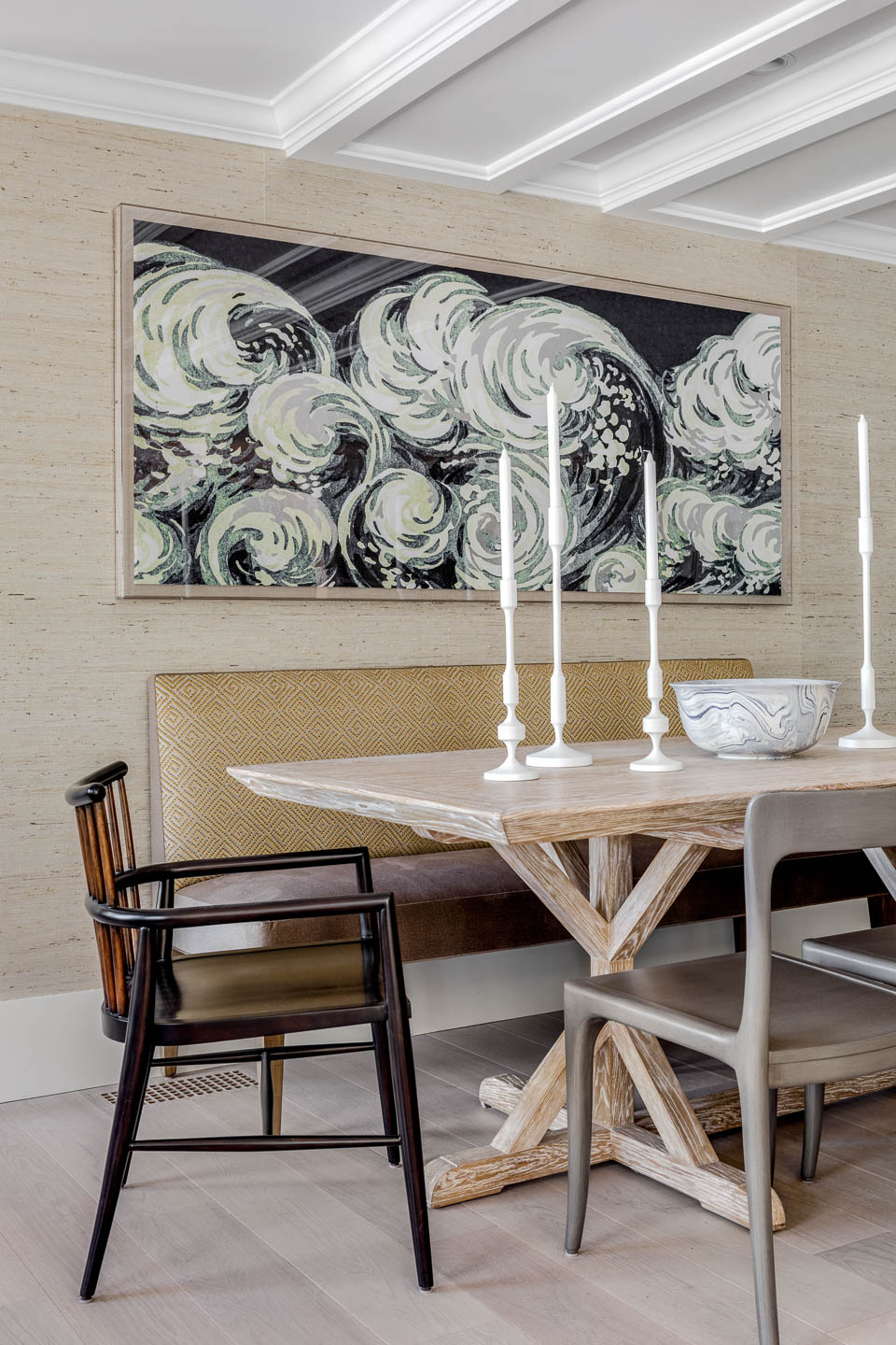 Newport, Rhode Island, Dining Room, Interior Design, Bench seat, artwork, dining table, table decor