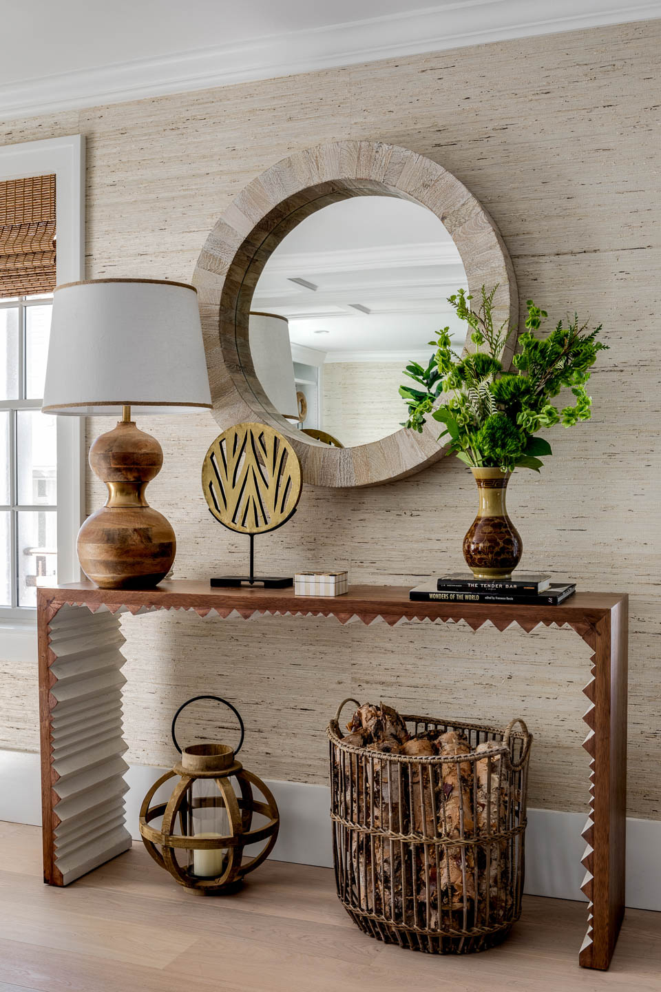 Newport, Rhode Island, Interior Design, console table, basket, round mirror, wallpaper