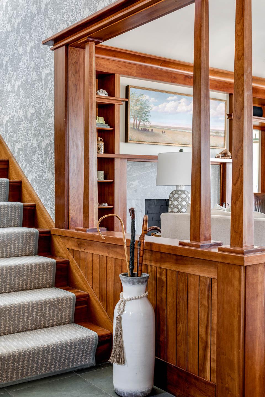 entryway, stair runner, interior design, Rhode Island designer