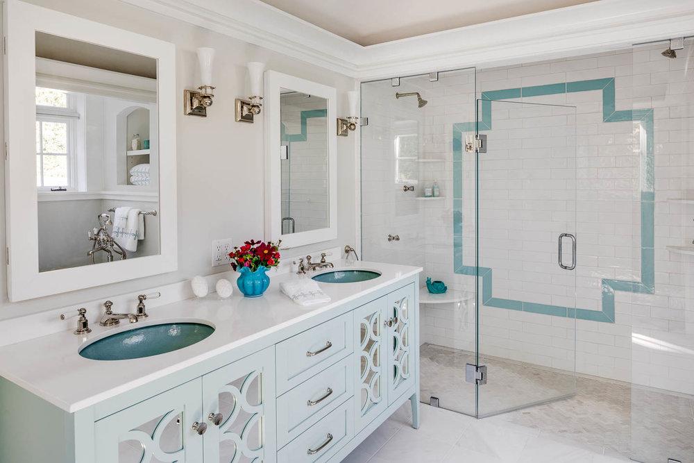 master bathroom, turquoise sinks, turquoise tile, subway tile, interior design, bathroom design