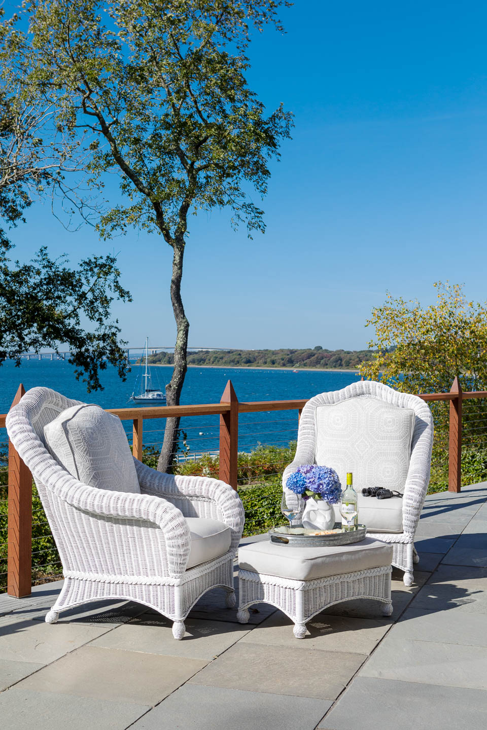 outside seating, water view, Rhode Island, interior design, exterior design