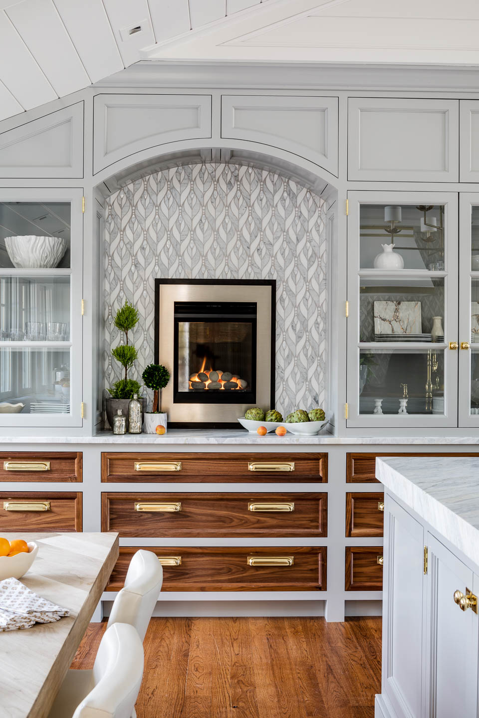 Digs, Digs Design, Matunuck, Matunuck Beach, Beach Design, Rhode Island Interior Design, Interior Design, Renovation, Beach Design, Beach Kitchen, Kitchen, Kitchen Design, Coastal Living, Butcher Block Counter, Tile Backsplash, Kitchen Fireplace, Built-in Storage, Banquette Seating