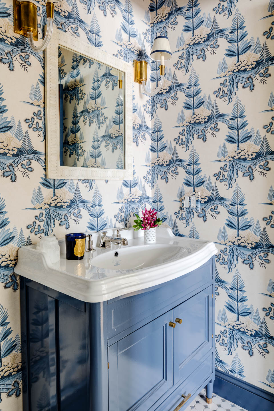 Digs, Digs Design, Matunuck, Matunuck Beach, Beach Design, Rhode Island Interior Design, Interior Design, Renovation, Bathroom, Bathroom Design, Vanity, Bathroom Wallpaper, Wallpaper, Blue Bathroom, Powder Room