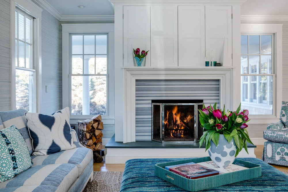 Digs, Digs Design, Matunuck, Matunuck Beach, Beach Design, Rhode Island Interior Design, Interior Design, Renovation, Living Room, Fireplace, Blue Decor, Living Room Design, Coastal Living