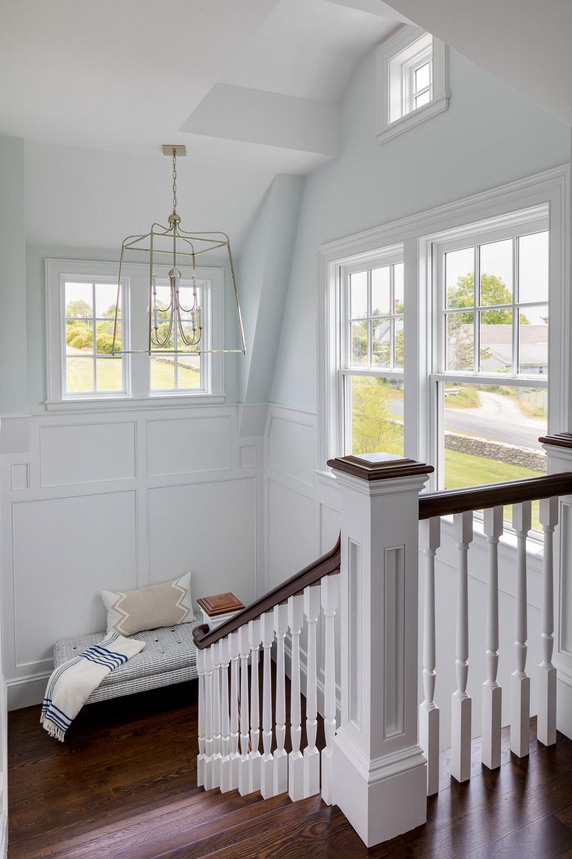 Dinardo Bailey Summer house, summerhouse, summerhouse design, bench, hallway bench, stairway, open staircase,beach house, east coast, beach design