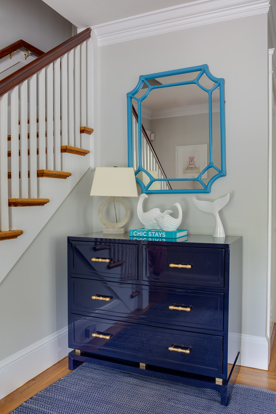 Nigro Kay Getaway, beach house decor, east coast, coastal decor, digs design, love your digs, blue console table, console table, hall table, console decor