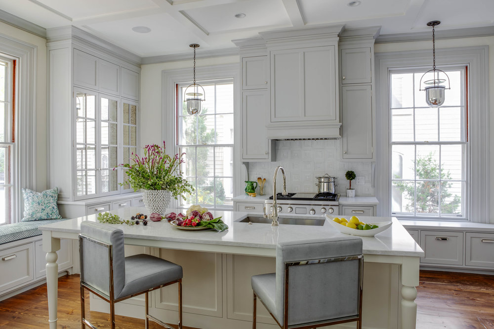 Benefit Street, Providence, Rhode Island, Counter stools, counter seating, kitchen island, gray cabinets, island sink, window seating, kitchen design, interior design, jocelyn chiappone, digs design, digs interior design, digs design company