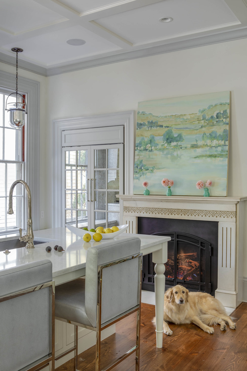 Benefit Street, Providence, Rhode Island, kitchen fireplace, kitchen island, island seating, fruit bowl, golden retriever, painting over fireplace, kitchen design, interior design, jocelyn chiappone, digs design, digs interior design, digs design company