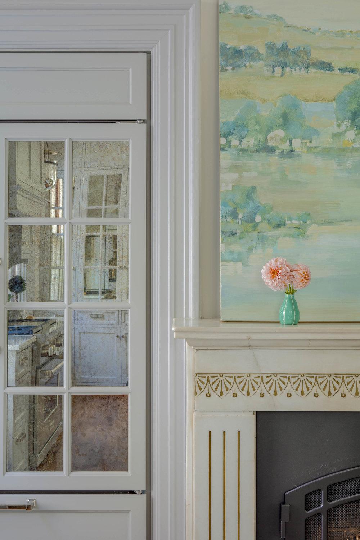 Benefit Street, Providence, Rhode Island, glass front cabinets, kitchen fireplace, kitchen design, interior design, jocelyn chiappone, digs design, digs interior design, digs design company
