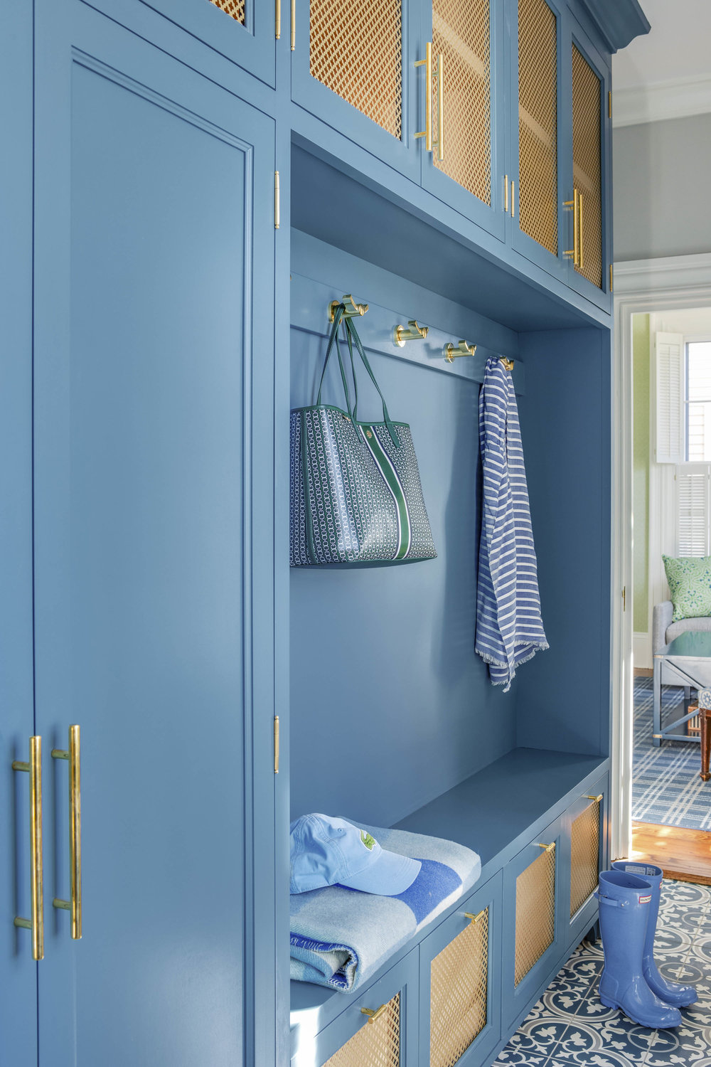 Digs Design, Digs, Digs Design Company, Interior Design, Jocelyn Chiappone, Rhode Island, Newport, Providence, Benefit Street, Mudroom, Blue Cabinets, Tile floor, Mudroom storage