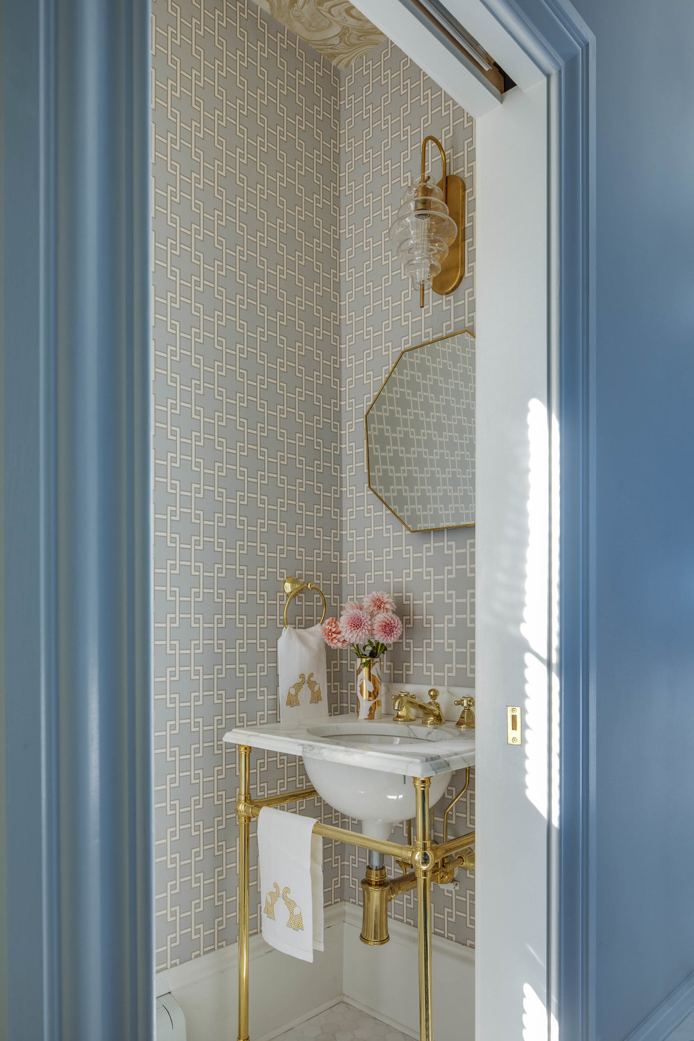 Digs Design, Digs, Digs Design Company, Interior Design, Jocelyn Chiappone, Rhode Island, Newport, Providence, Benefit Street, Mudroom, Blue Cabinets, Tile floor