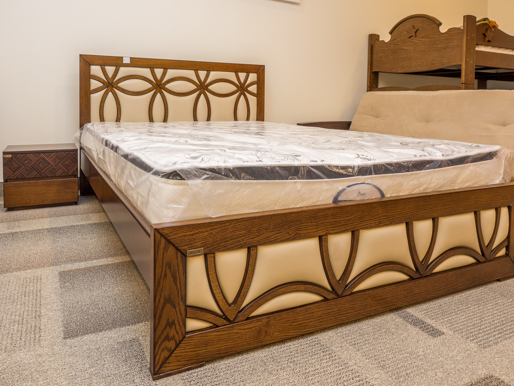 Model: 182-2-1-77. Bed with leather inserted patterns.