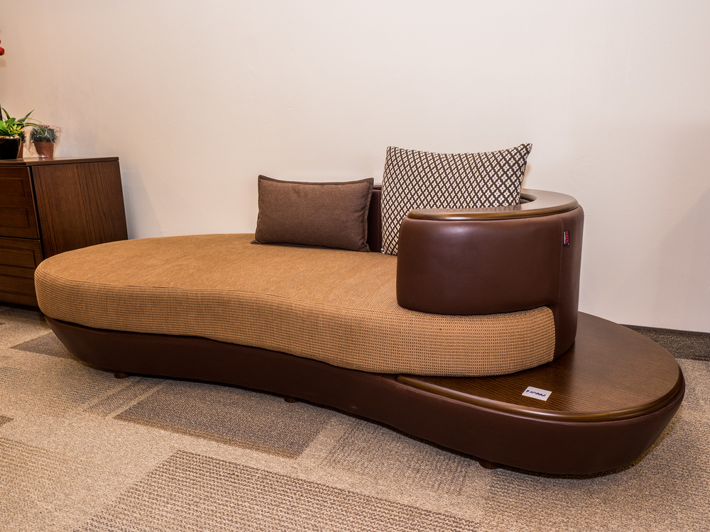 Model: 110-2-1-77. Divan with leather accents.