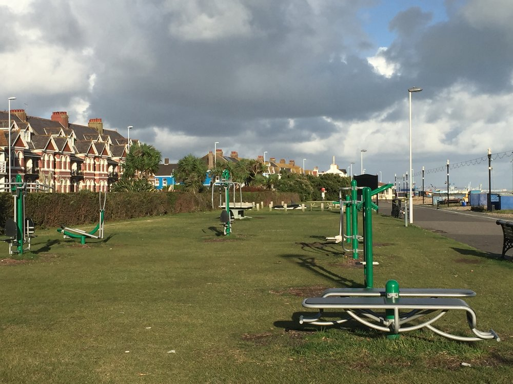 Outdoor gym looking out to the sea in Worthing, West Sussex