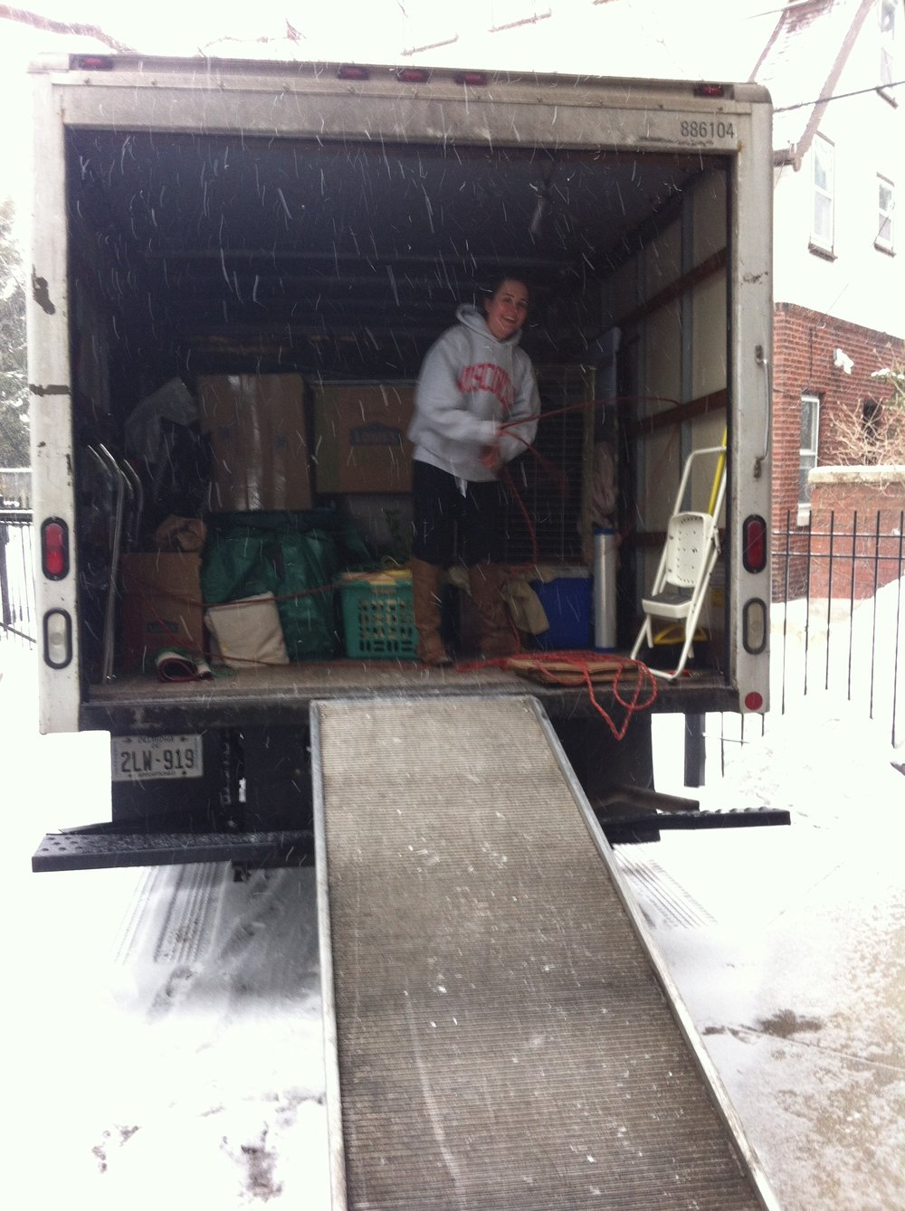 Unloading our truck during a blizzard